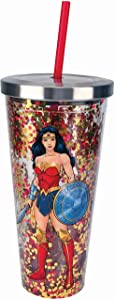 Spoontiques Wonder Woman Glitter Cup With Straw, 20 ounces, Multicolor