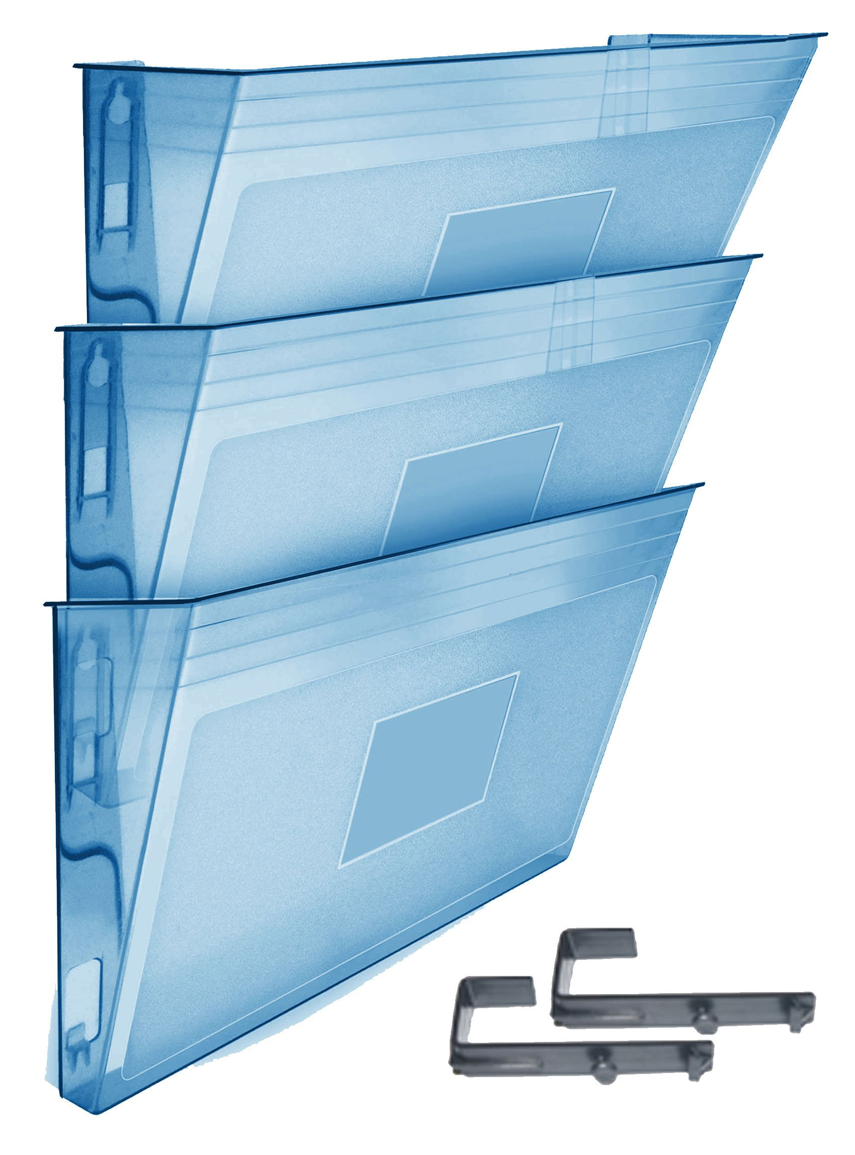 Acrimet Wall-mounted Modular File Holder (3 - Pack) (Clear Blue Color)