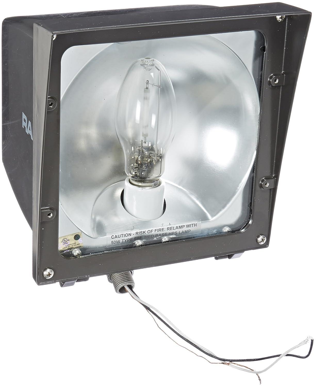 RAB Lighting EZSH50 High Pressure Sodium EZ Floodlight, ED17 Type, Aluminum, 50 Watts, 4,000 Lumens, 120 Volts, Bronze Color by RAB Lighting B000VDV5T6