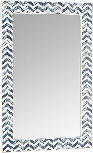 Two s Company Chevron Wall Mirror, Indigo