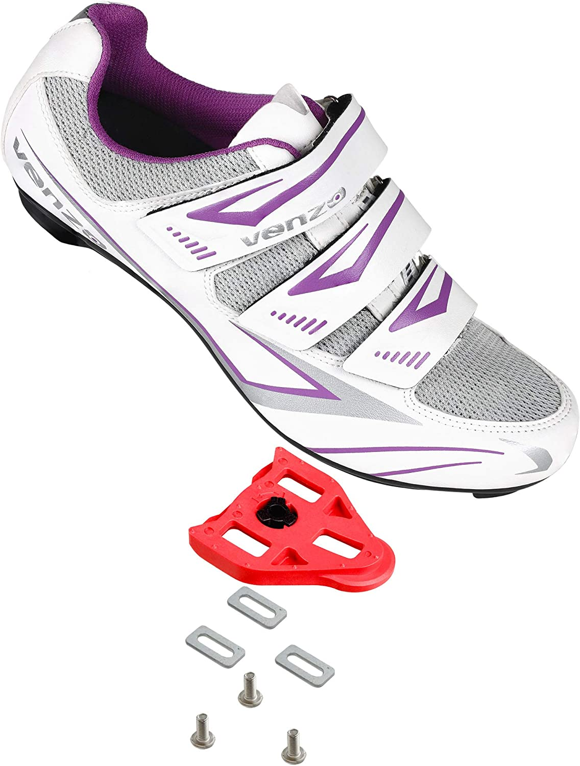 Venzo MX Bike Bicycle Women's Ladies Cycling Riding Shoes - Compatible with Peloton Shimano SPD & Look ARC Delta - Perfect for Indoor Spin Road Racing Indoor Exercise Bikes: Sports & Outdoors