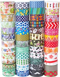 MOOKER Washi Tape Set of 48 Rolls,Decorative Washi Masking Tape Set for DIY Crafts and Gift Wrapping