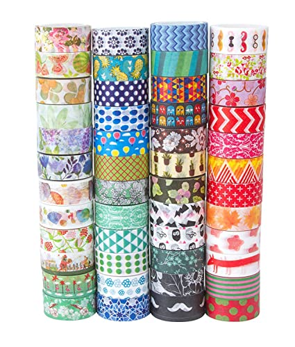 amazon com 48 rolls washi tape set decorative washi masking tape set for diy crafts and gift wrapping mix office products
