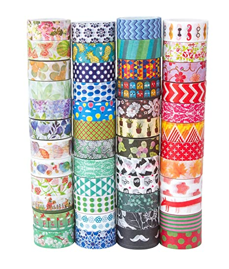48 Rolls Washi Tape Set Decorative Washi Masking Tape Set For Diy Crafts And Gift Wrapping Mix