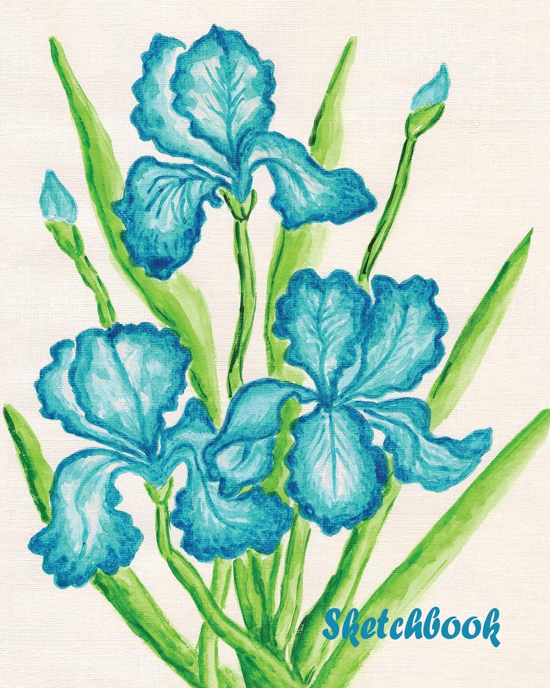 Download Sketchbook: Blue Orchid 8x10 - BLANK JOURNAL WITH NO LINES - Journal notebook with unlined pages for drawing and writing on blank paper (8x10 Watercolor Flowers Sketchbook Series) pdf