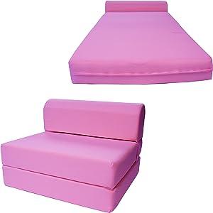 "Chair Folding Foam Bed, Studio Sofa Guest Folded Foam Mattress (6"" x 24"" x 70"", Pink)"
