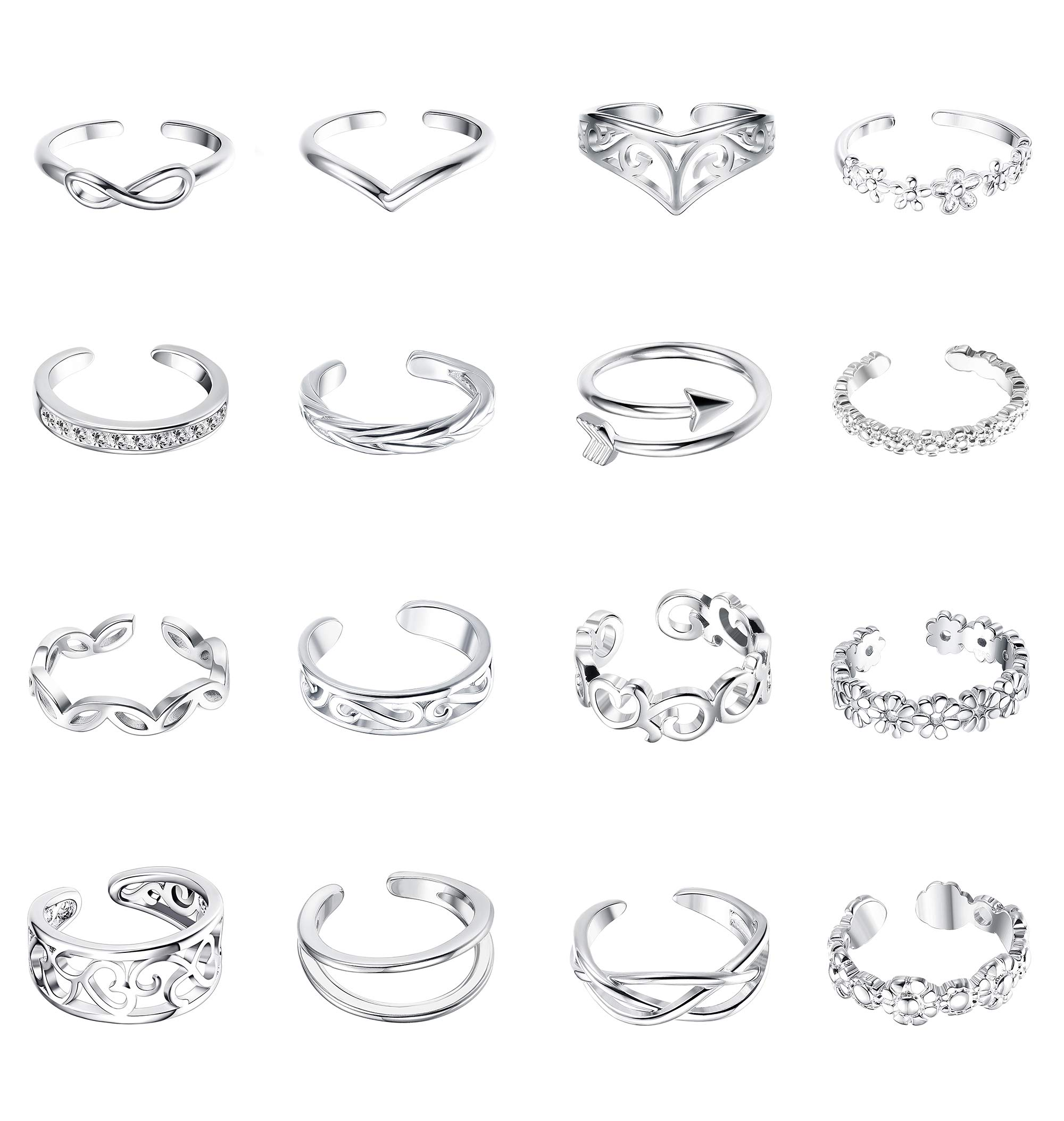 LOYALLOOK 16Pcs Adjustable CZ Silver Cuff Tail Knuckle Toe Rings Set for Women Girls Open Flower Knot Simple Toe Rings Set Women Gift Foot Jewelry by LOYALLOOK