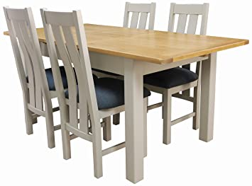 Aspen Painted Oak Sage / Grey Extending Dining Table And 4 Chairs / Dining  Table Set