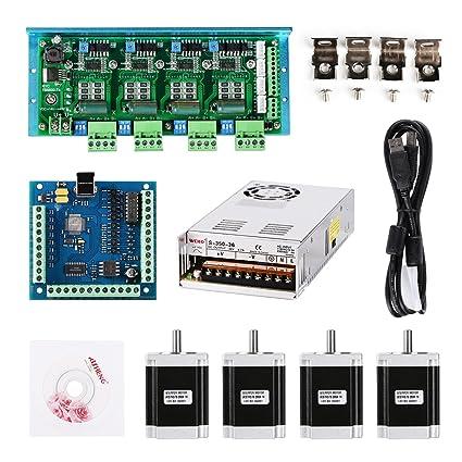 SainSmart Mach3 CNC USB 4 Axis Kit, TB6600 4 Axis Stepper Motor Driver, USB  Controller Card 100KHz, 4pcs Nema23 270oz-in Motor