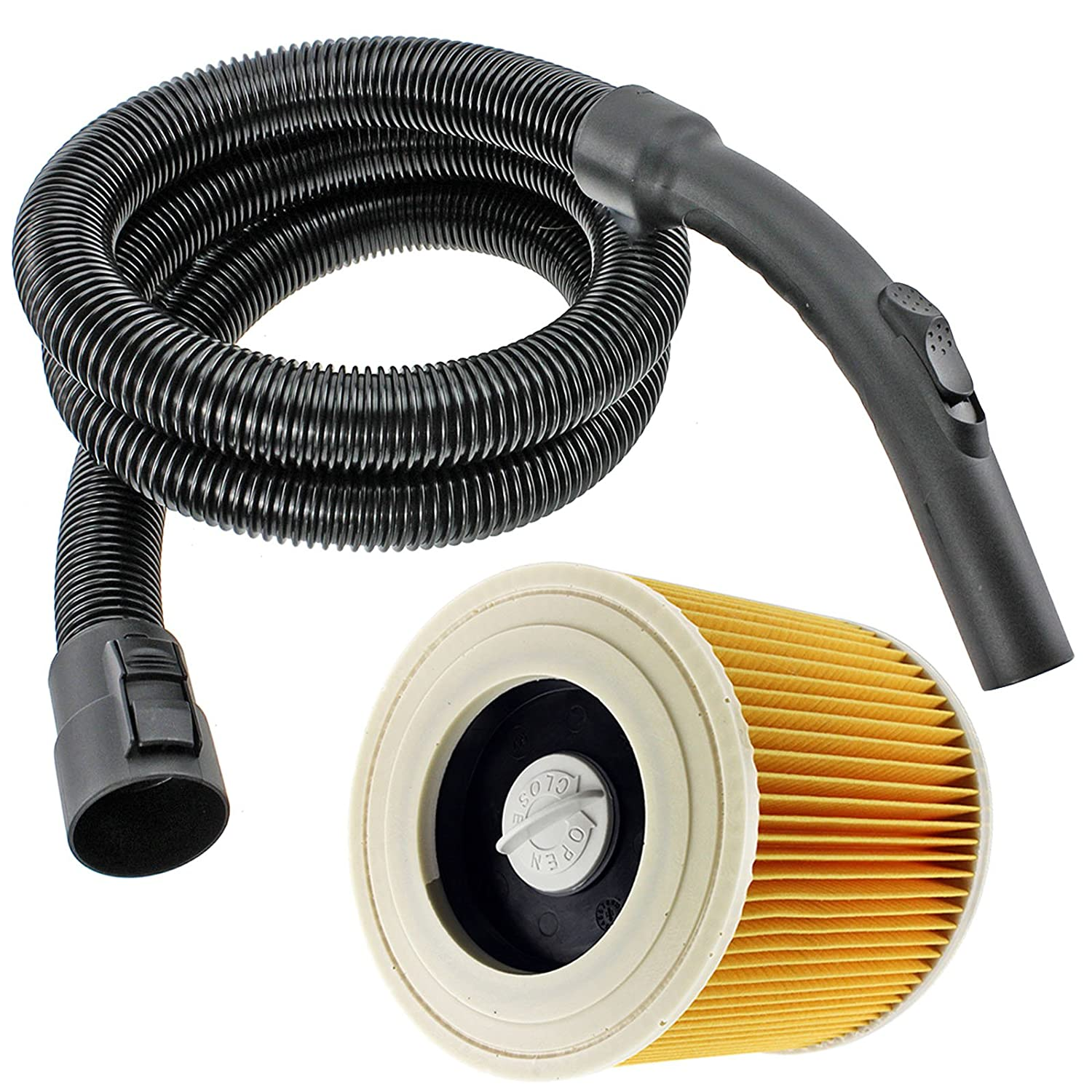 SPARES2GO Complete Pipe Hose Handle + Cartridge Filter for Karcher Vacuum Cleaners (2 Metres)