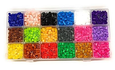 Buntes Bügelperlen Bastelset DIY vom Bastel Express 3500 Perlen 18 Farben