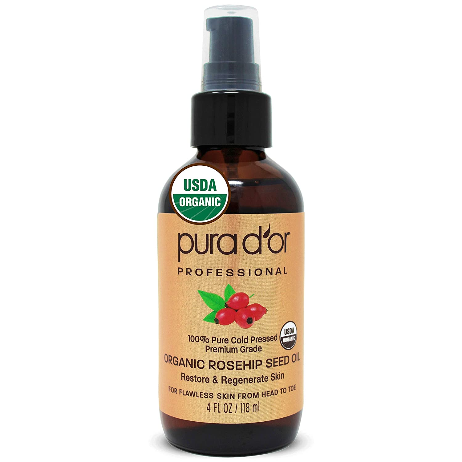 PURA D'OR Organic Rosehip Seed Oil (4oz / 118mL) 100% Pure Cold Pressed USDA Certified Organic, All Natural Anti-Aging Moisturizer Treatment for Face, Hair, Skin, Nails, Men-Women