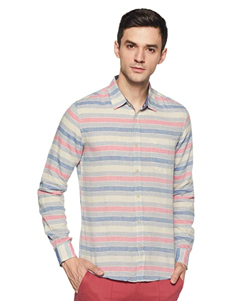 United Colors of Benetton Men s Striped Slim Fit Casual Shirt  Amazon.in   Clothing   Accessories 481b18a80a37