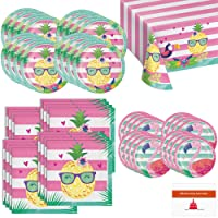 Pineapple and Flamingo Summer Beach Party Supplies Set Serves 16 -Tableware Kit for pool party, tropical birthday party, splash party or beach luau party