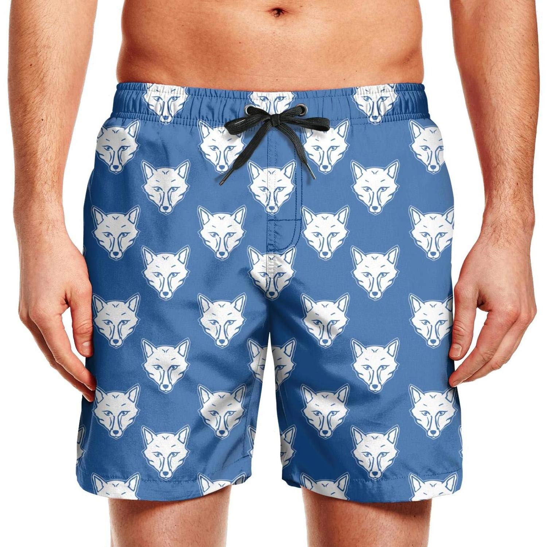 Men Swim Trunks Board Shorts Beach Wear Drawstring Waist Printed Shorts