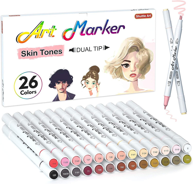 26 Colors Skin Tone&Hair Art Markers, Shuttle Art Dual Tip Alcohol Based Flesh-Color Marker Pen Set Contains 1 Blender Perfect for Kids & Adults Portrait,Comic, Anime, Manga, Illustration.