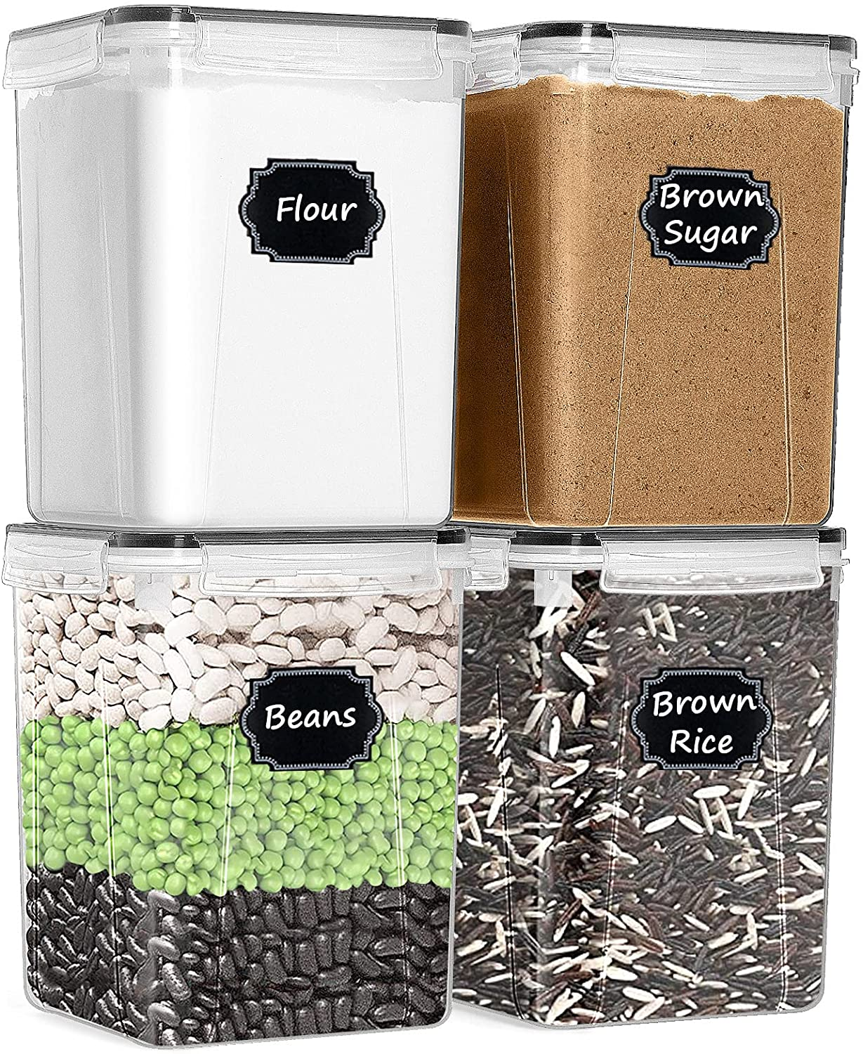 Large Food Storage Containers with Lids Airtight, Paincco BPA Free Plastic Canisters Set of 4 [5.2L /175oz] for Kitchen Pantry Organization, with 20 Labels & 1 Marker