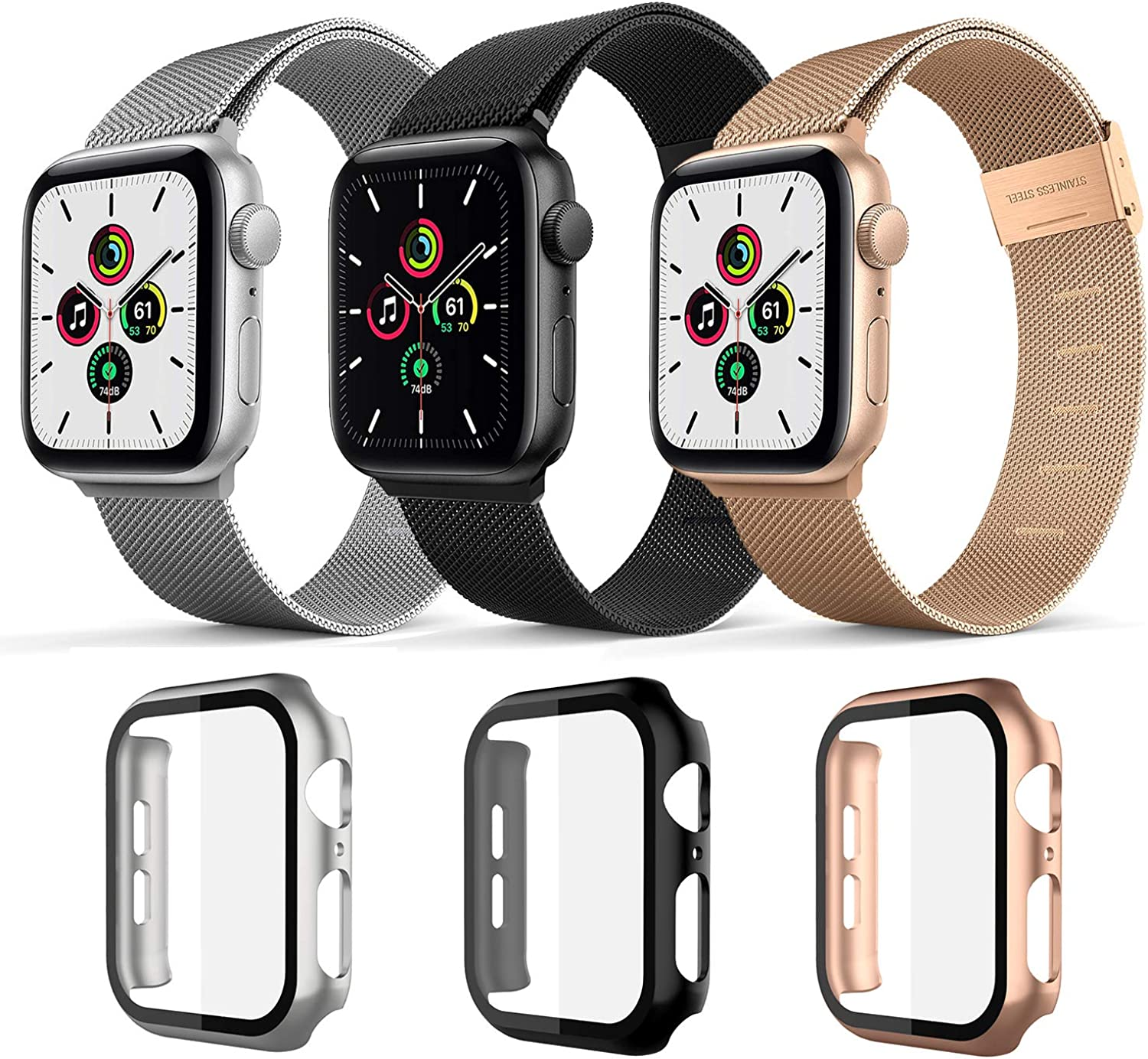 Magnetic Band with Case Compatible for Apple Watch Bands 38mm 40mm 42mm 44mm ,Case Built in Tempered Glass Screen Protector Stainless Steel Mesh Replacement Bands For Iwatch Series 6 44mm 40mm
