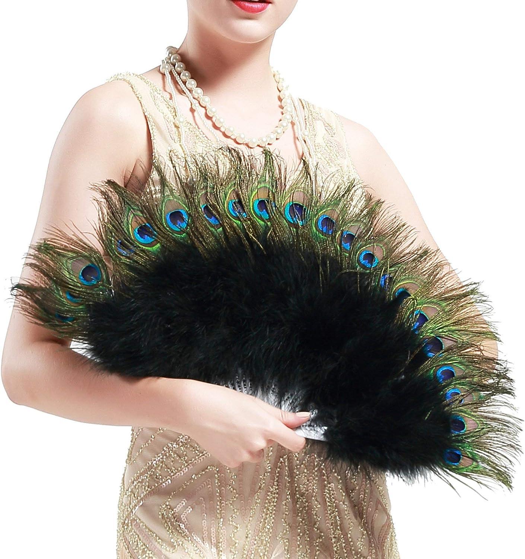 BABEYOND Roaring 20s Vintage Style Peacock & Black Marabou Feather Fan Flapper Accessories (Black-White Rib)