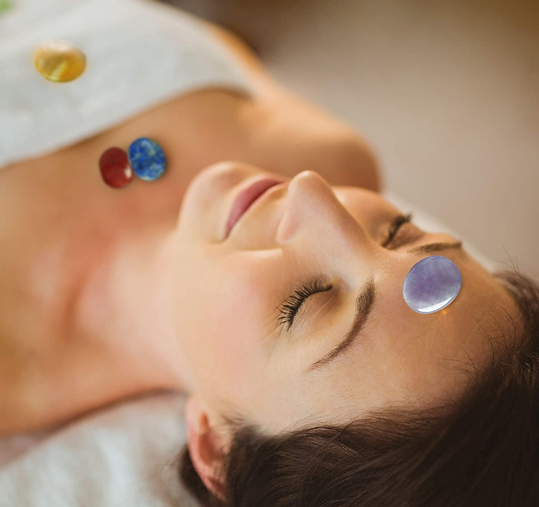 For Crystal Healing Meditation Reiki or As Worry Stones or Palm Thumb Pocket Stones Chakra Stones 8 PCS Kit Set of 8 Oval Shape Chakra Stones Oval Shaped