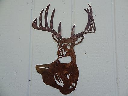 Amazon.com: Deer Buck Head Metal Wall Art Country Rustic Home Decor ...