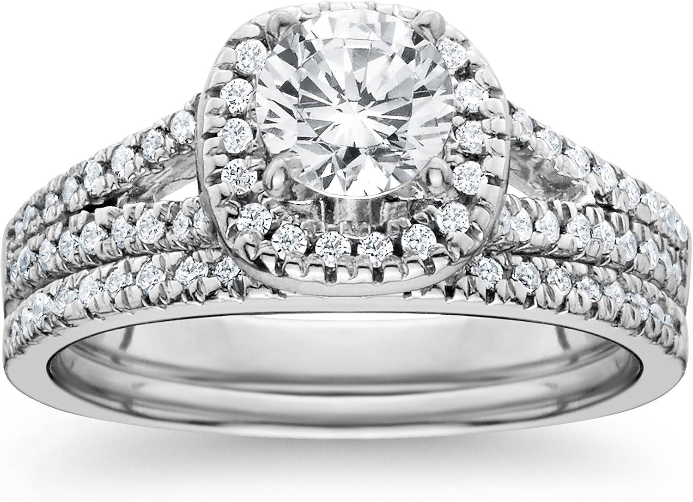 Amazon Com 1ct Halo Diamond Engagement Ring Set Split Shank Bridal Wedding 14k White Gold Jewelry