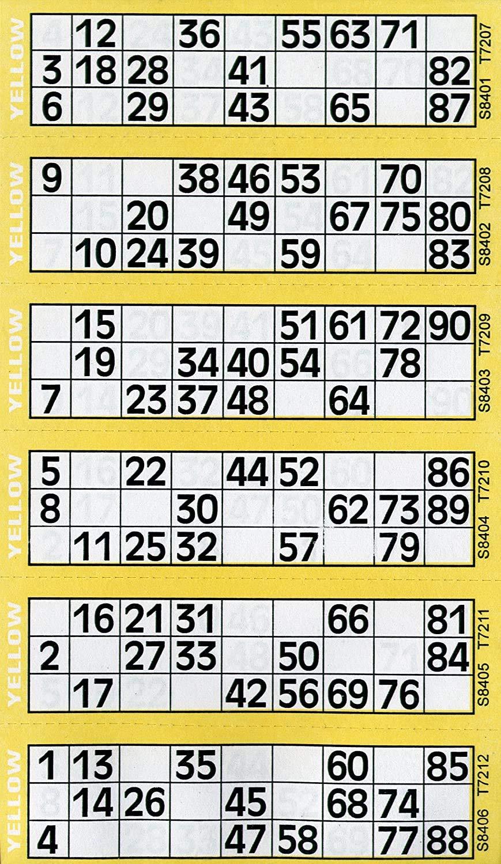 Jumbo Bingo Ticket Singles, 6 to View Pad, Yellow
