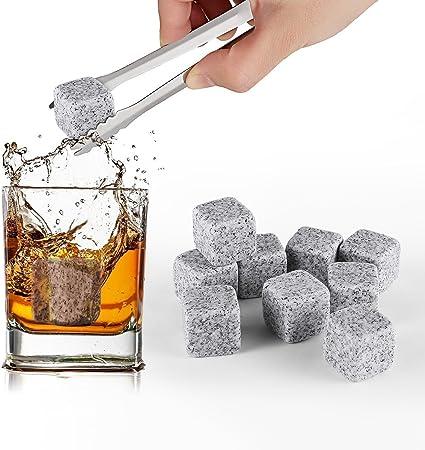 HOMPO Lot de 9 Pierre a Whisky en Granit Glaçons Pierre Whisky Cooler Rocks Spiritueux Vins avec Pochette Gris Clair