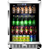 """Sinoartizan 24"""" Compressor Beverage cooler 154 Can Single Zone ST-54BC Built-In and Freestanding Fridge with Fan Cooling,Triple-Layer Tempered Glass Door"""