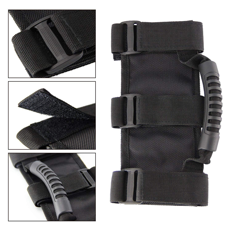 2pack Yuzlder Triple Strap Roll Bar Grab Grip Handles for Jeep Wrangler JK TJ YJ CJ JL Sports Sahara Freedom Rubicon X /& Unlimited 1987-2018