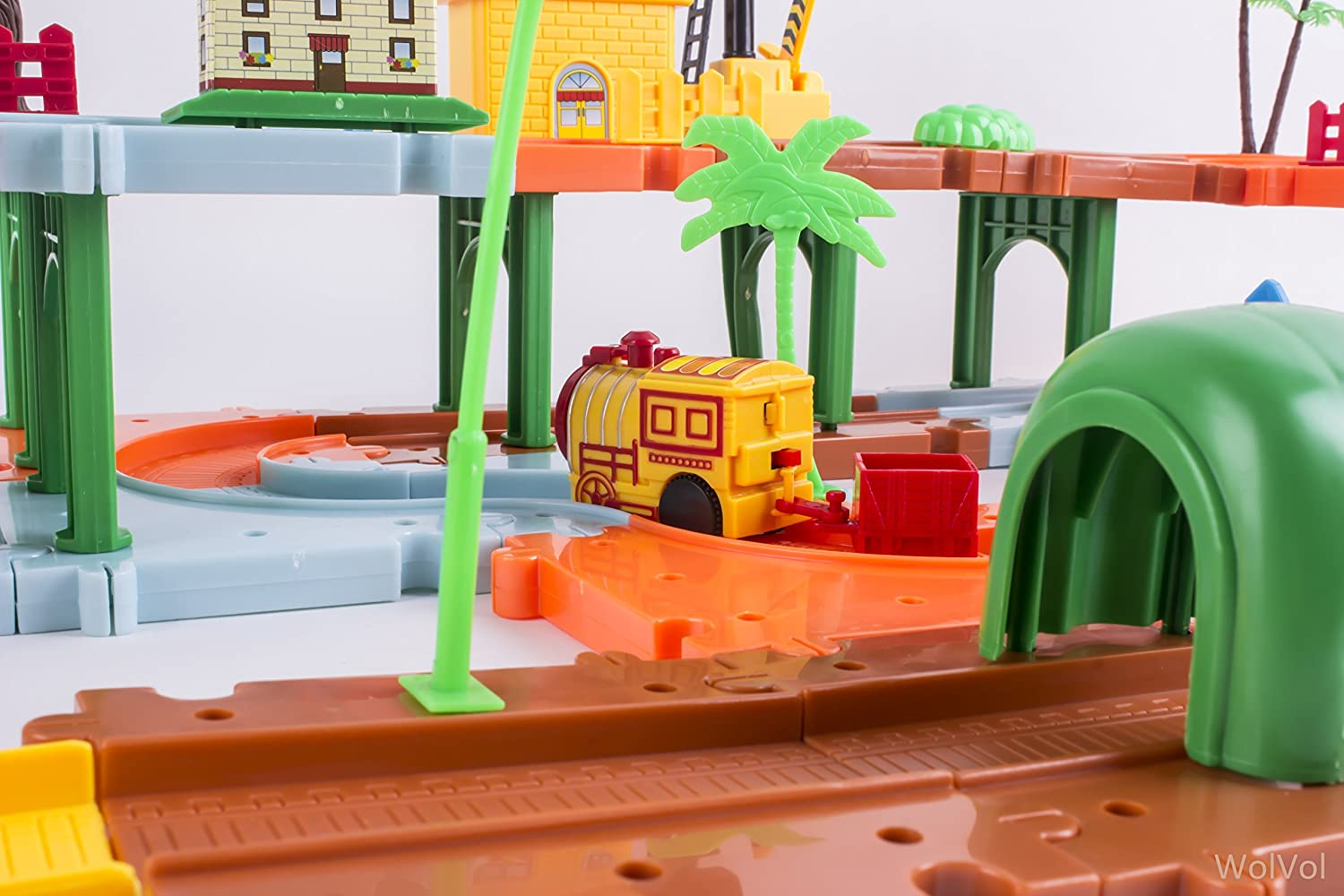 with Battery Operated Racing Train and a Real Working Traffic Red//Green Light Tunnels and Bridges WolVol Big Train Tracks Set Toy for Kids with Upper and Lower Level with Sounds