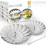 TWO-PACK Stackable (Large and Standard) Vegetable Steamer Basket Set - 2x Steamer Inserts for Instant Pot + Safety Tool - 100% Stainless Steel - Instant Pot and Pressure Cooker Accessories - Egg Rack