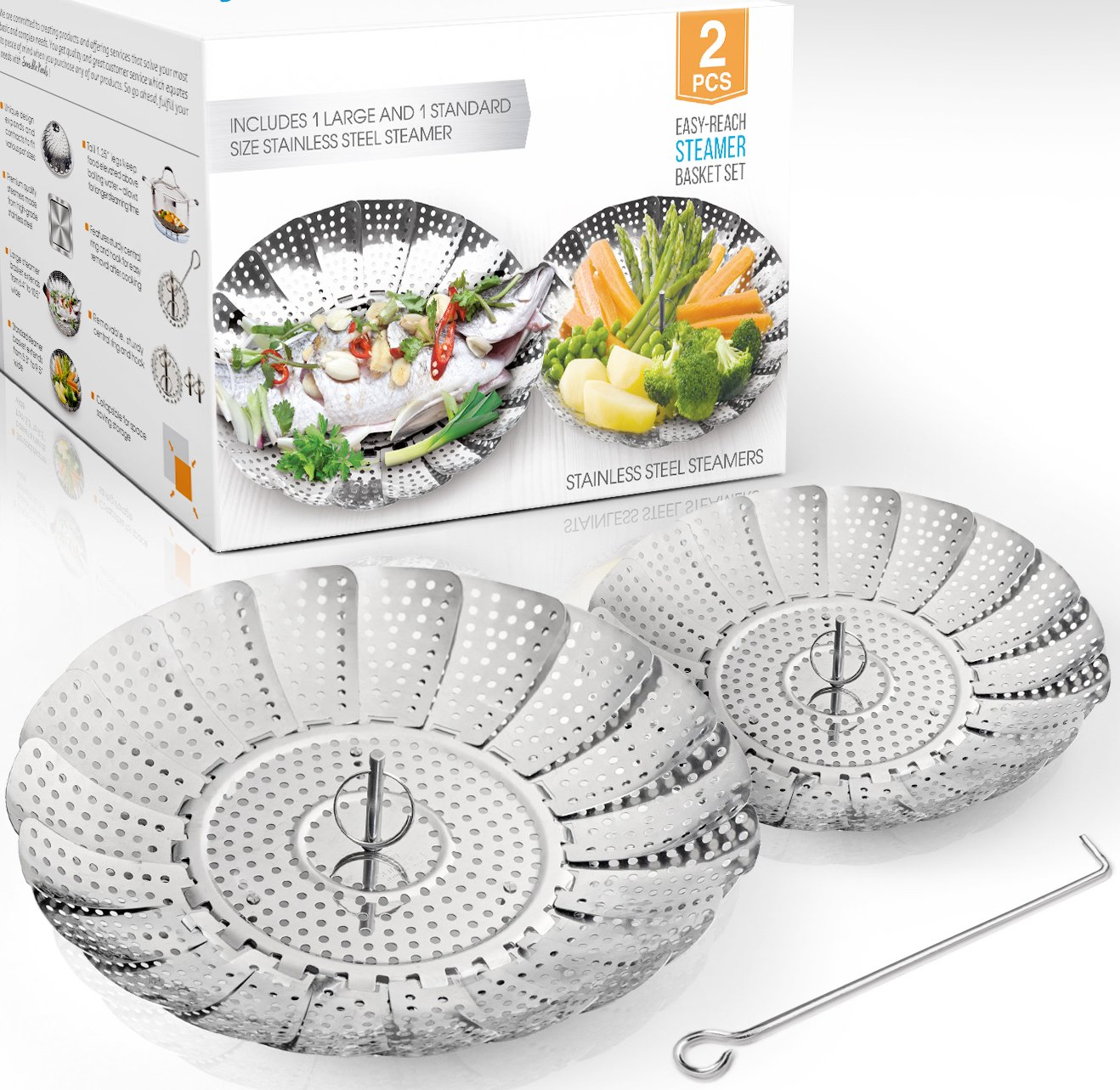 TWO-PACK (Large and Standard) Vegetable Steamer Basket Set - 2x Steamer Inserts for Instant Pot + Safety Tool - 100% Stainless Steel - Pressure Cooker & Instant Pot Accessories, Pot in Pot - Egg Rack