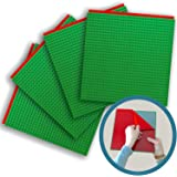"Peel-and-Stick Baseplates - Self Adhesive Brick Building Plates - Compatible With Most Major Brands of Building Bricks - 4 pack (10"" x 10"") - By Creative QT (4-Green)"