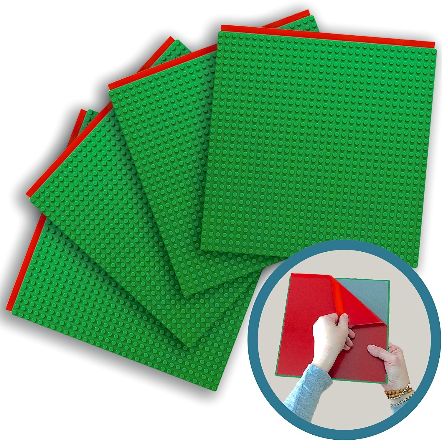 Peel-and-stick Baseplates - Self Adhesive Building Brick Plates - Compatible With All Major Brands - 4 Pack - Green - 10 Inch X 10 Inch - By Creative Qt
