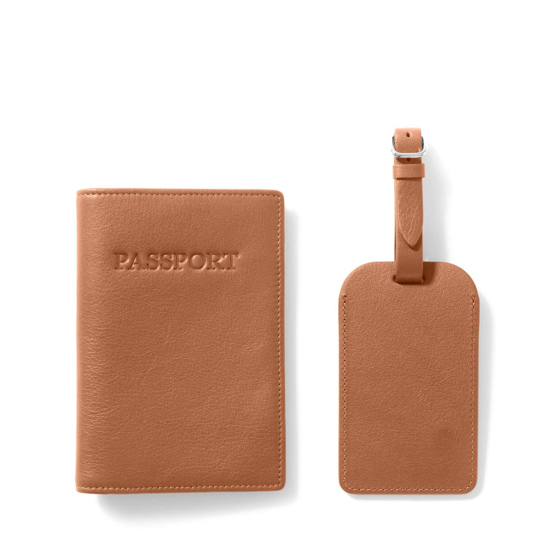 Passport Cover + Luggage Tag - Full Grain Leather - Cognac (brown)
