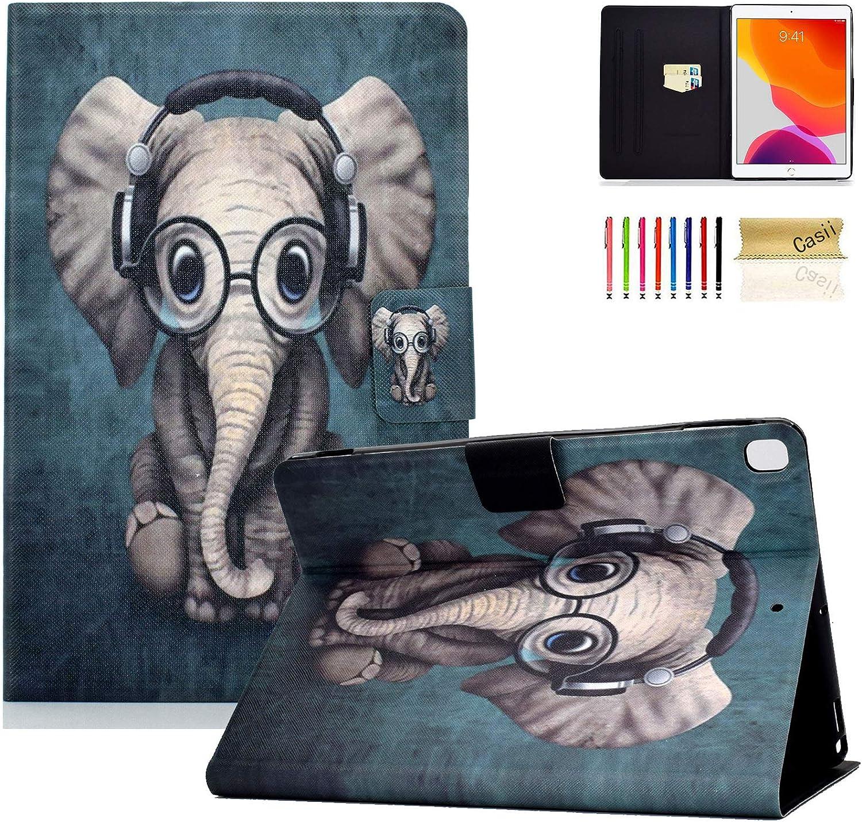 Casii - Funda de Piel para iPad de 7ª generación (10,2 Pulgadas, 2019, función Atril, función de Encendido y Apagado automático) 001 Music Elephant