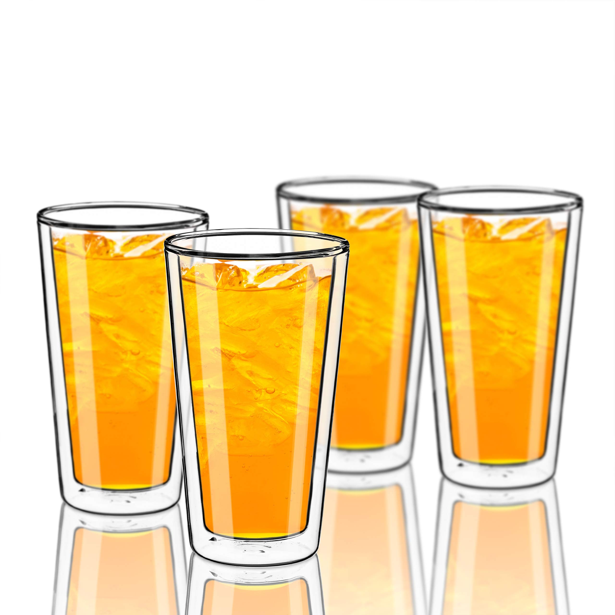 Style Setter Double Wall Tumblers - Set of 4 15.2oz Insulated Home Barware Glasses for Cold Drinks, Cocktails, Coffee, Hot Tea & Other Beverages - Unique Gift Idea for Birthday, Holiday & More