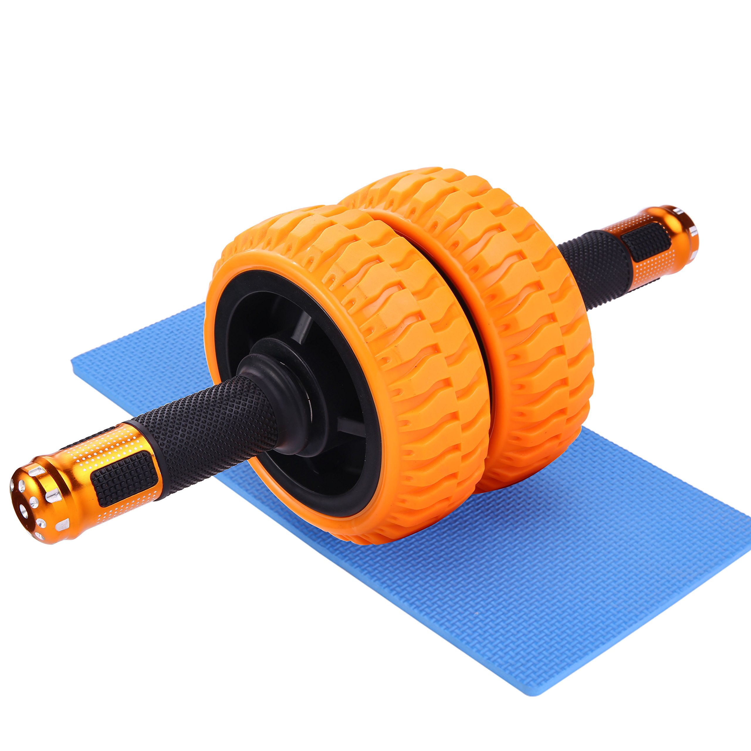 Wnnideo Ab Wheels Roller With Knee Pad - The Exercise Wheels with Stable Dual wheels and Reinforced Steel Handles Great for Core Strength Training/Abdominal Workout