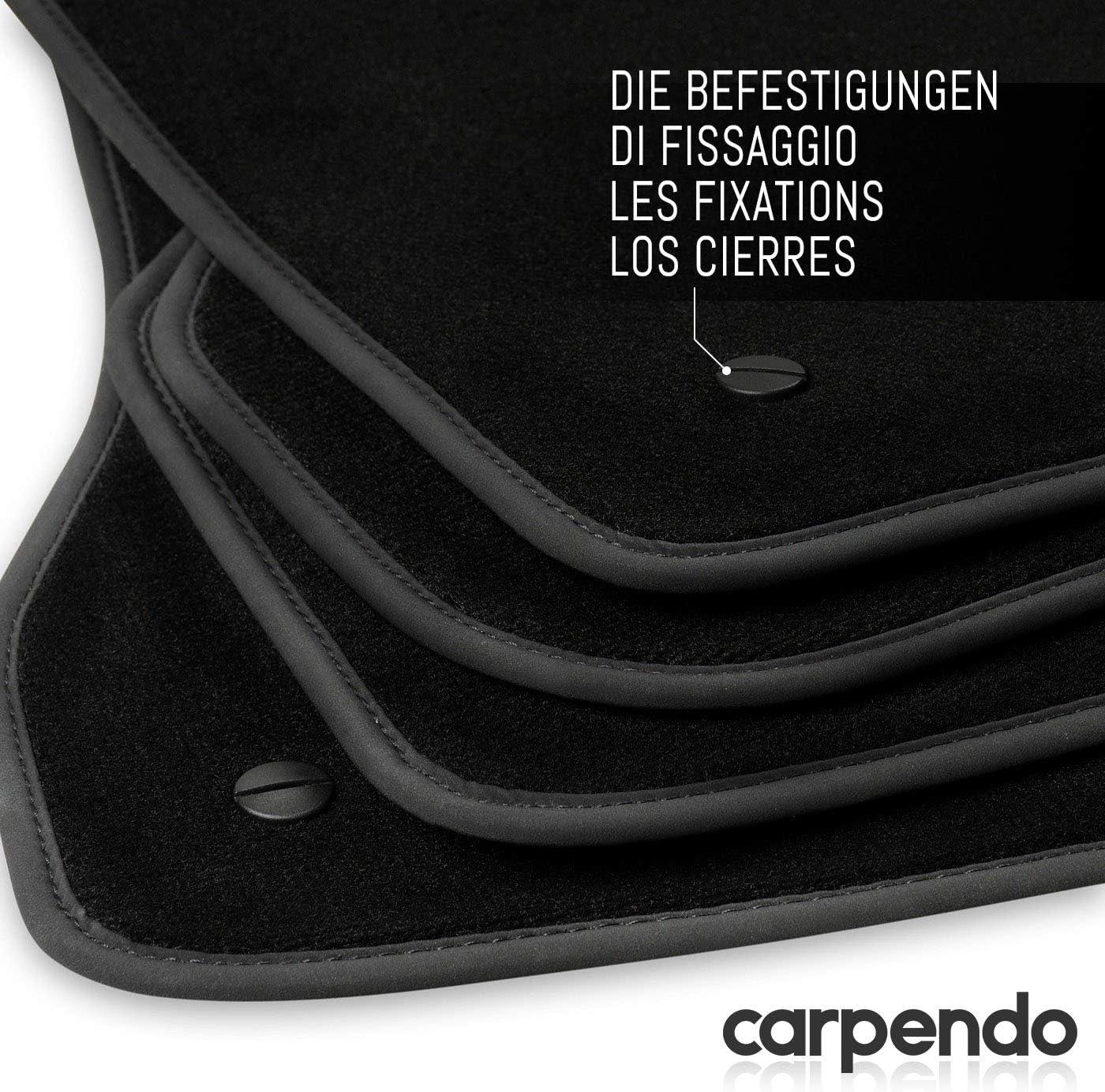 Befestigung Set 4-teilig Carpendo 2905 Fu/ßmatten Auto Velours Autoteppiche Schwarz Automatten rutschfest inkl