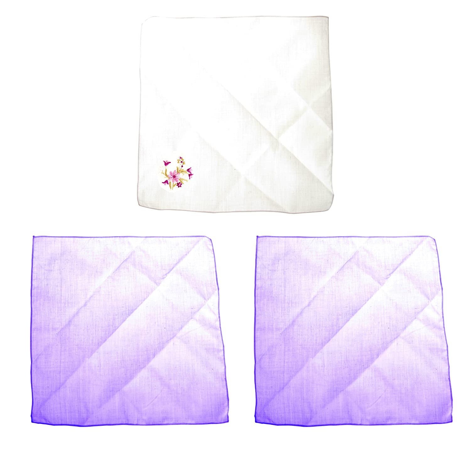 Womens/Ladies Embroidered Flowers And Plain Handkerchiefs (Pack Of 3) UTHAND114_3
