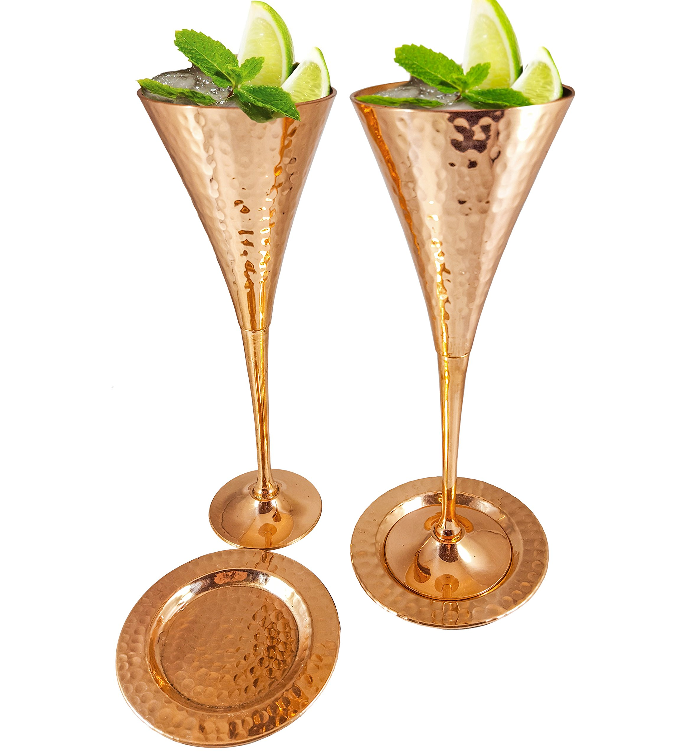 Moscow Mule Copper Flutes Set of 4 with Matching Pure Copper Coasters for Champagne Mules, Appetizers, Weddings. Kamojo Gift Set