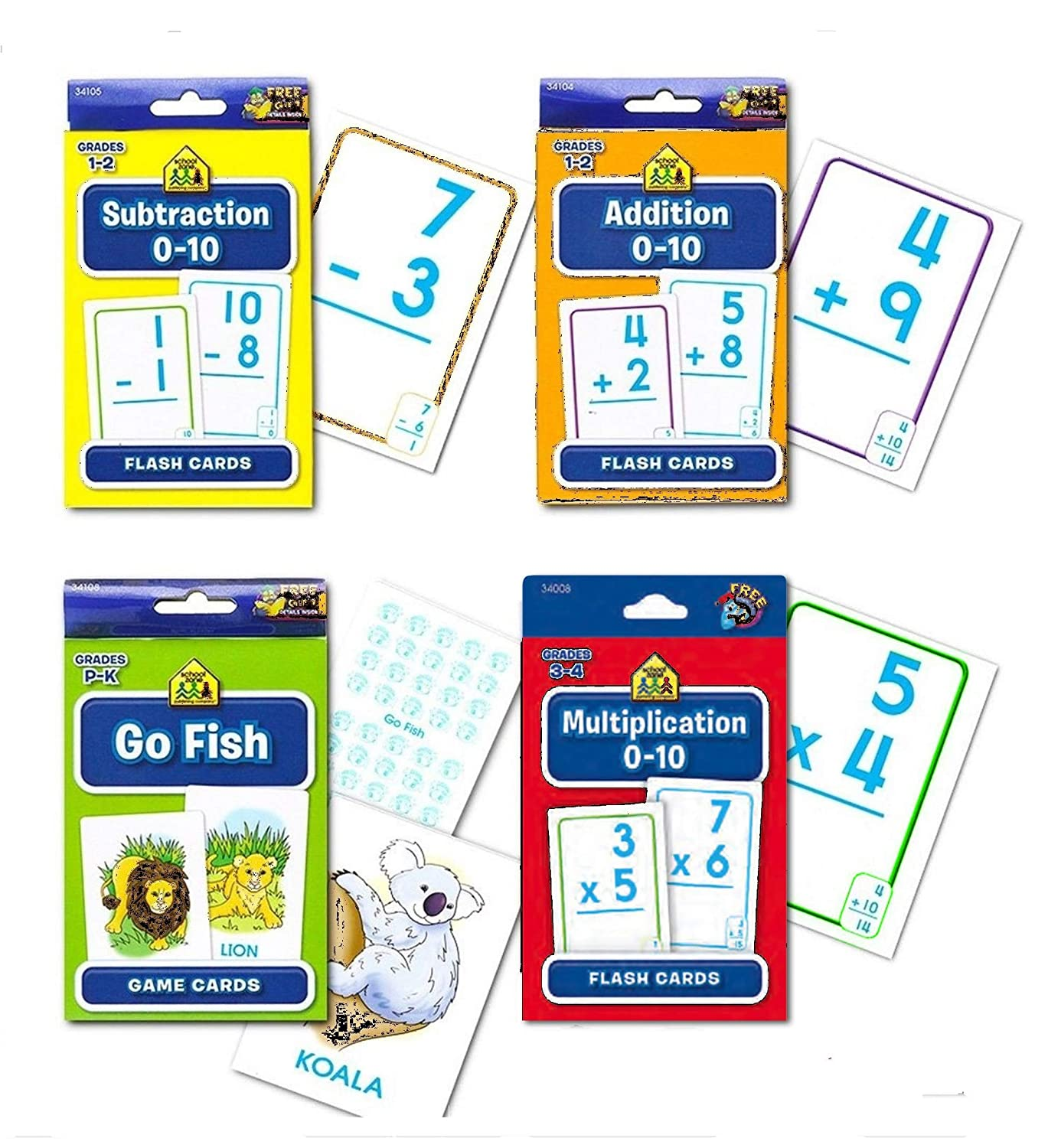 School Zone Flash Cards Math Set Kids 4 Packs Addition Subtraction Multiplication Go Fish Stickers