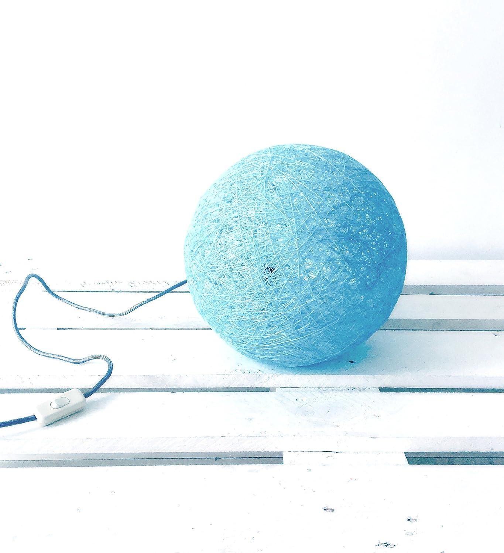 Lámpara de sobremesa esfera decorativa de hilo de algodón, artesanal, hecha a mano 40 cms.