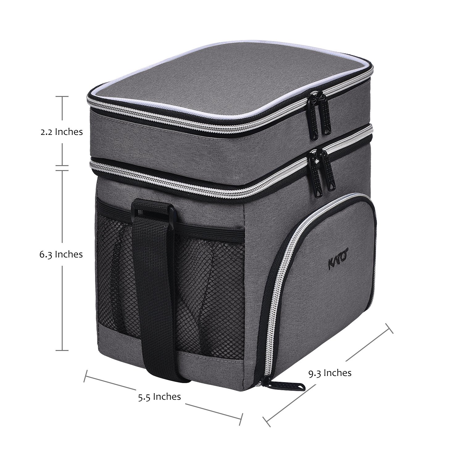 Kato Insulated Lunch Bag, Leakproof Bento Cooler Lunch Box Tote, Dual Compartment Thermal Lunch Bag with Shoulder Strap for Men & Women, Oxford Cloth, Gray