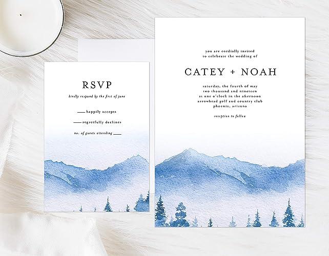 Amazon Com Watercolor Mountain Wedding Invitation Lake Wedding
