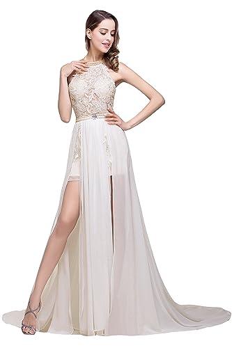 Babyonline Summer Beach Wedding Gowns for Bride 2016 White Halter Prom Dresses