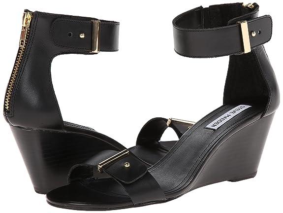 39b7e32cd70 Steve Madden Narissaa Women US 7.5 Black Wedge Sandal  Amazon.co.uk  Shoes    Bags