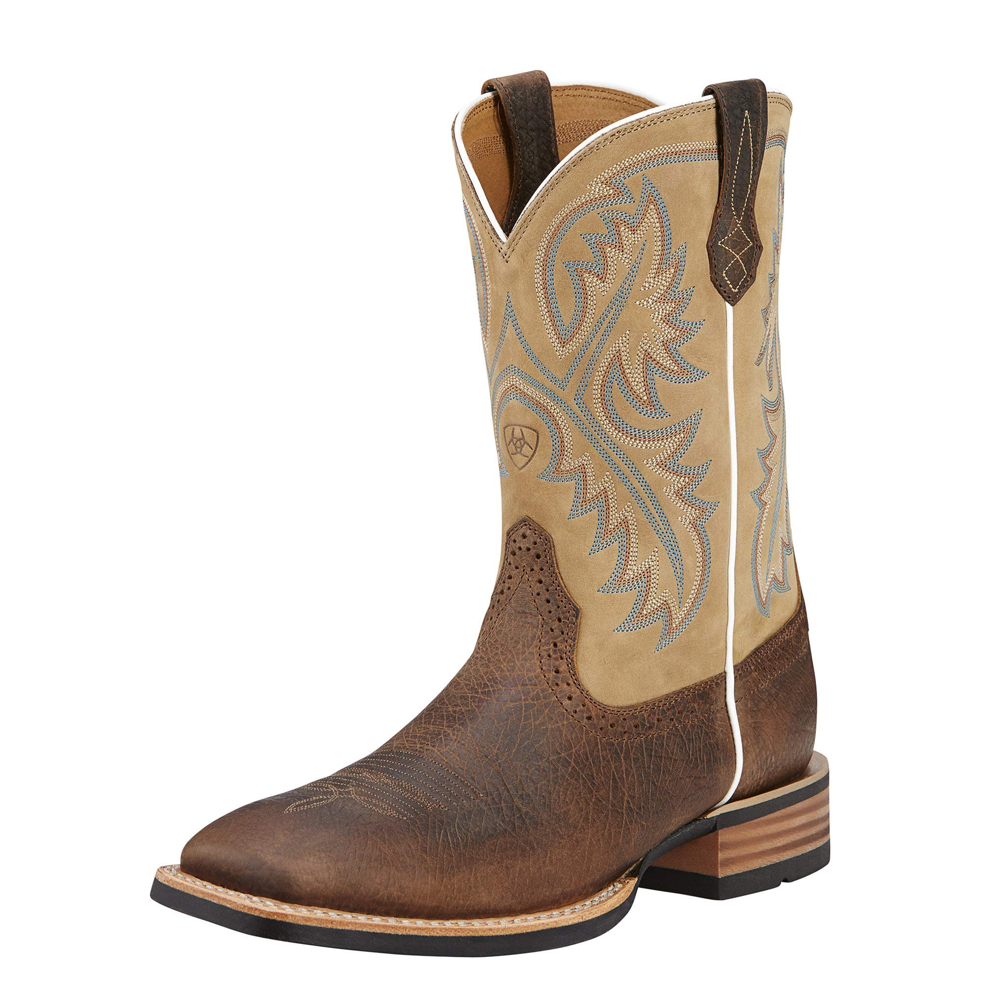 Ariat Men's Quickdraw Western Boot, Tumbled bark/Beige, 13 E US by ARIAT