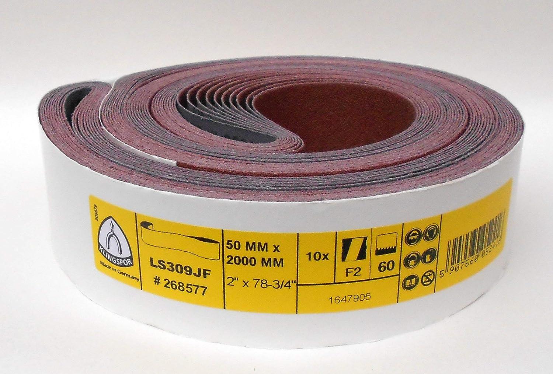 Klingspor LS 309 JF Lot de 5 bandes abrasives 50 x 2000 mm Grain au choix LS 309 JF